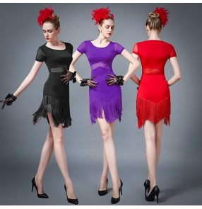 Black red purple short sleeves see through waist fashion women's ladies competition band salsa latin rumba dance dresses