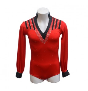 Black red rhinestones competition men's male v neck long sleeves competition latin ballroom dance leotards shirts tops