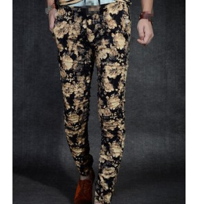 Black red rose floral printed fashion men's male jazz singer night club bar dj hot dance dancers performance pencil pants trousers