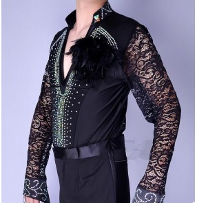 Black red royal blue lace rhinestones men's male v neck competition ballroom latin salsa dance dresses outfits leotards shirts costumes