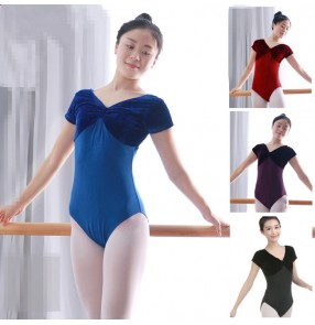 Black red royal blue purple short sleeves women's ladies competition contest gymnastics exercises ballet dance leotards bodysuits