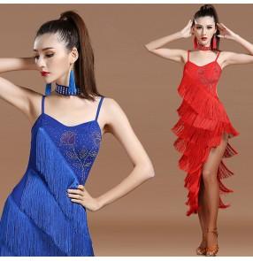 3195e63b Black red royal blue rhinestones backless irregular layers fringes side  split competition women's ladies latin salsa