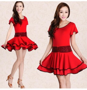 Black red royal blue sequins short sleeves practice exercises women's ladies latin samba salsa cha cha dance dresses outfits