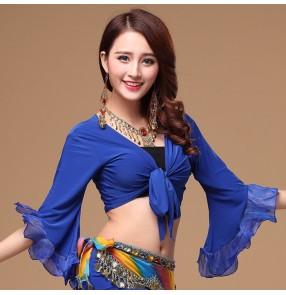 Black red royal blue turquoise purple fuchsia light pink white yellow long flare sleeves women's girls belly latin dance crop bra tops