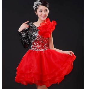 Black red sequins paillette one long sleeves ruffles skirted women's girls modern dance jazz singer dancers performance dresses costumes