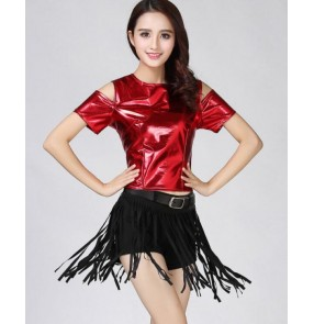 Black red silver gold fuchsia glitter modern dance girls women's ladies female competition jazz singer night club cosplay dancing outfits