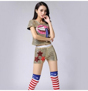 Black red silver green gold lips sequins fashion girls women's ladies modern dance hip hop jazz cheerleading singer dance outfits costumes