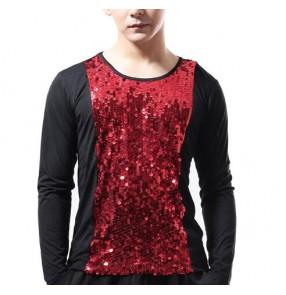 Black red silver patchwork sequins glitter men's jazz punk pole dance stage performance singer dancers hip hop dance tops t shirts