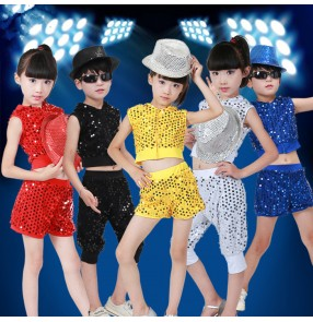 Black red silver red royal blue gold glitter sequins boys kids children girls competition performance jazz hip hop modern dance outfits costumes