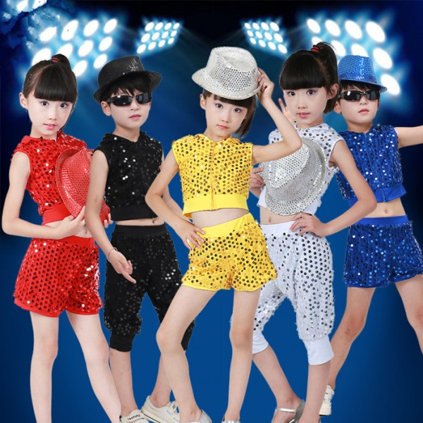 9414b1aa94a8 black-red-silver-red-royal-blue-gold-glitter-sequins-boys-kids-children- girls-competition-performance-jazz-hip-hop-modern-dance-outfits-costumes-5917-  ...