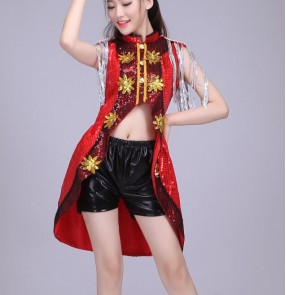 Black red silver sequins tuxedo tops leather shorts fashion sexy performance girls women's jazz singer hip hop night club bar dancing outfits costumes