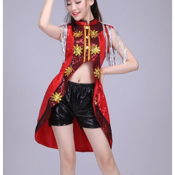 Black Red Silver Sequins Tuxedo Tops Leather Shorts Fashion Sexy Performance Girls Womenu0026#39;s Jazz ...