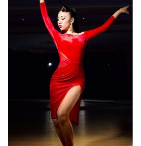 Black red velvet long sleeves inclined shoulder competition performance professional women's female leotards latin salsa cha cha dance dresses outfits costumes