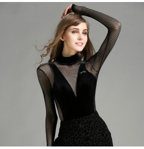 Black red velvet mesh patchwork see through back sleeves fashion women's competition ballroom latin dance leotards tops bodysuits