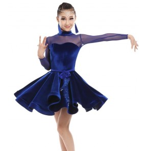 Black red velvet royal blue long sleeves mesh patchwork sexy fashion girls kids children competition latin salsa dance dresses outfits