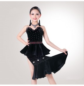 Black red velvet trimmed lace rhinestones fashion school competition girls kids children performance latin salsa cha cha dance dresses