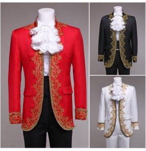 Black red white gold European palace embroidery men's male gentlemen cosplay stage spanish bull dancing performance singer drama magician play blazers outfits