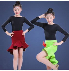 Black red wine neon green patchwork long sleeves girls kids children competition cha cha latin salsa dance dresses outfits