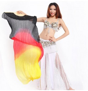 Black red yellow gold gradient colored Mulberry silk long length women's ladies belly dance accessories fans 1.8m