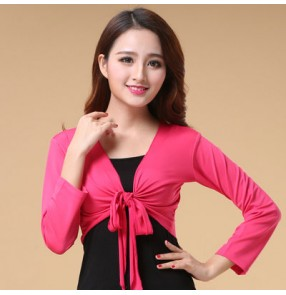 Black red yellow green turquoise royal blue fuchsia long sleeves women's belly dance tie up crop shrug cardigan tops cape