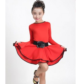 Black red yellow patchwork long sleeves girls stage performance children latin salsa dancing dresses outfits