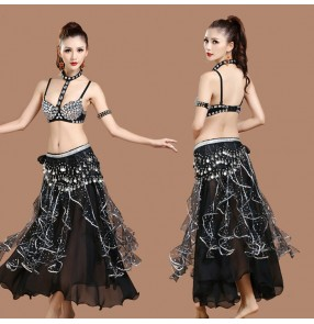 Black rhinestones bra coins hip scarf long skirts women's ladies sexy fashion competition indian Egypt belly dance costumes outfits