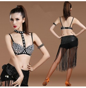 Black rhinestones neck choker bra  with shorts hip scarf sexy fashion women's girls jazz singer ds pole night club dance costumes outfits