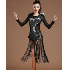 Black rhinestones see through back women's competition night club jazz pole dance singers ds cosplay dancing dresses bodysuits hip scarves outfits