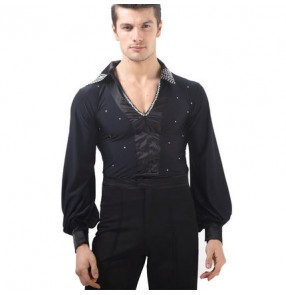 Black rhinestones v neck long sleeves competition performance professional men's male latin salsa ballroom tango dance shirts tops