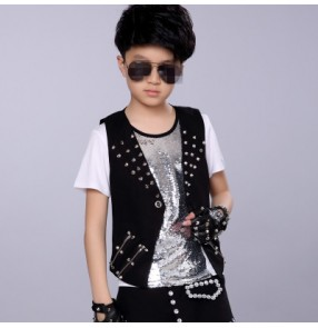 Black rivet fashion boys kids children drummer performance school competition hip hop dance waistcoats vests