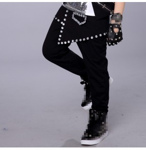 Black rivet fashion boys kids children performance school contest jazz hip hop dance pants trousers