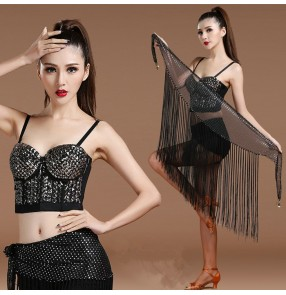 Black rivet top sequins fringes hip scarf women's jazz pole dance singer night club bar sexy dance outfits costumes clothes