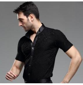 Black rose pattern fashion short sleeves men's male competition latin ballroom dance tops shirts