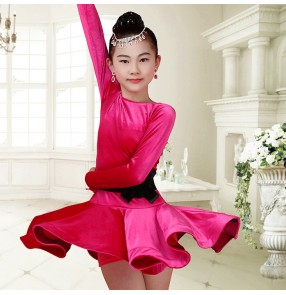 Black royal blue fuchsia hot pink long sleeves velvet girls kids children  competition latin salsa dance dresses