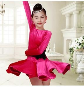 Black royal blue fuchsia hot pink long sleeves velvet girls kids children  competition latin salsa dance dresses
