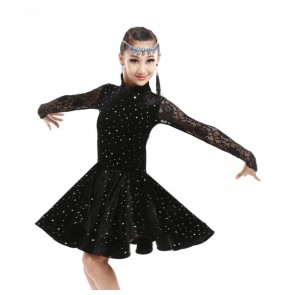 Black royal blue long sleeves turtle neck sequins paillette girls kids children lace competition latin salsa dance dresses dancewear