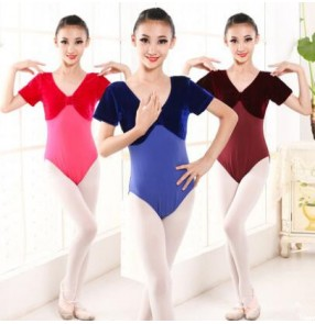 Black royal blue turquoise dark red purple fuchsia hot pink velvet short sleeves girls children baby gymnastics exercises latin ballet leotards bodysuits