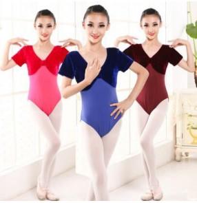 Black royal blue turquoise dark red purple fuchsia hot pink velvet short sleeves girls children baby gymnastics exercises latin ballet leotards bodysuits