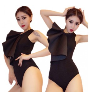 Black ruffles one shoulder sexy fashion women's jazz singers night bar party cosplay dancing performance leotards bodysuits