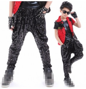 Black sequins paillette glitter boys kids children school catwalk show drummer jazz hip hop competition harem pants