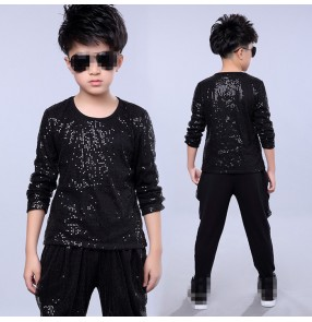 Black Sequins paillette long sleeves t shirt harem pants boys kids children performance hip hop jazz drummer dancing outfits costumes