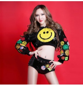 Black sequins with yellow face women's ladies fashion sexy stage performance paillette long sleeves coat  shorts hip hop jazz singer hot dancing outfits costumes