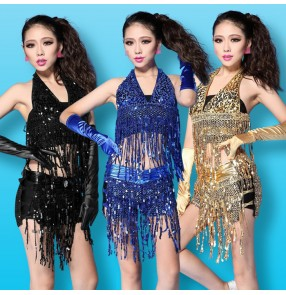 Black silver gold royal blue red sequins fringes tassels girls women's adult fashion sexy performance bar club jazz singer hot dancing outfits costumes