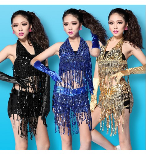 Black silver gold royal blue red sequins fringes tassels girls women s adult  fashion sexy performance bar club jazz singer hot dancing outfits costumes fe444a04e5b6