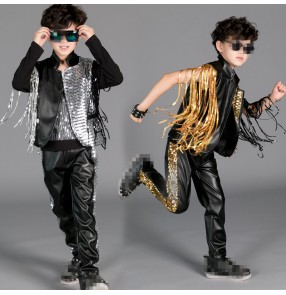 Black silver gold sequins fringes boys kids children leather competition stage performance jazz singer hip hop drummer play dance vest pants outfits