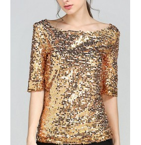 Black silver gold sequins glitter shiny girls women's plus size performance jazz singers dancers dancing t shirts tops