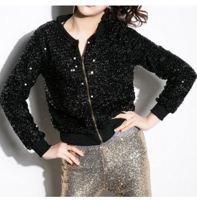 Black silver gold sequins glitter stage performance fashion modern dance school play women's girls night club jazz singer dj hip hop dancing jackets tops