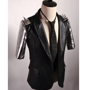 Black silver patchwork rivet fashion men's male short sleeves hip hop punk rock stage night club jazz singers dancers performance dance tops blazers coats