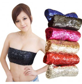 Black silver red fuchsia blue gold sequins paillette sexy fashion women's girls hot night club bar stage performance jazz singer wrap glitter chest vest tops