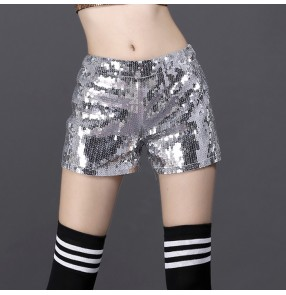 Black silver red sequins paillette glitter shiny hot dancesex fashion women's girls performance jazz singer dance shorts